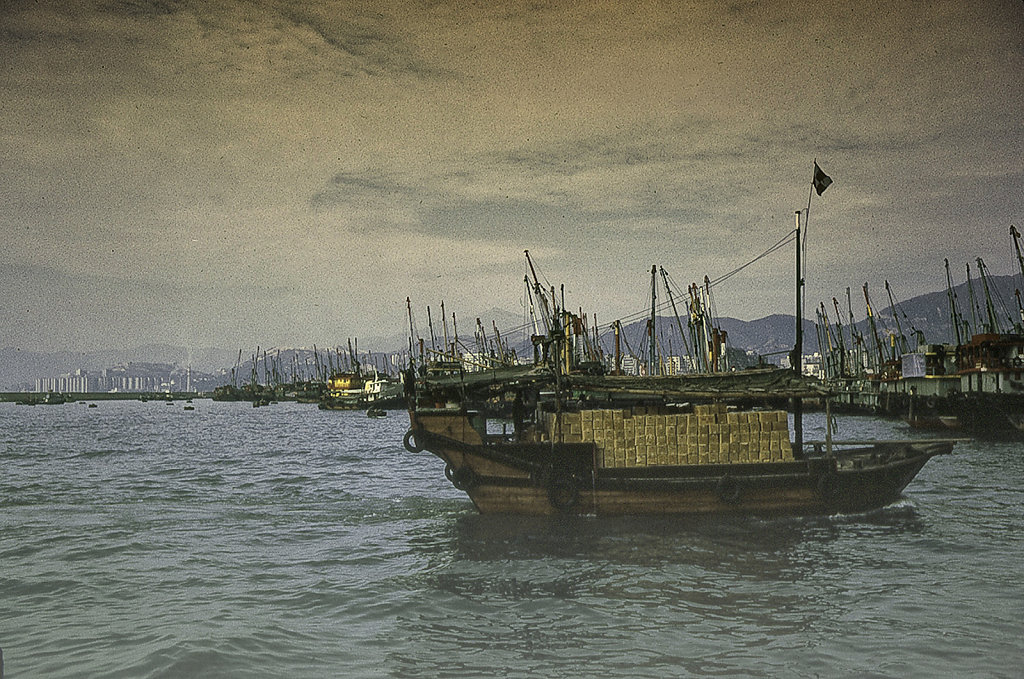 A Junk in Hong Kong Harbor