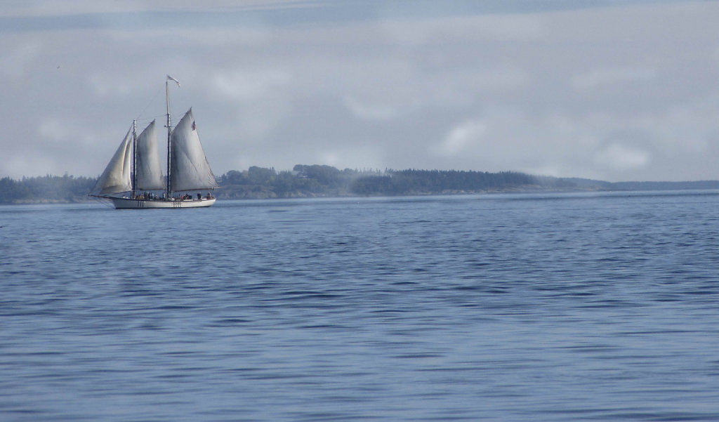 Schooner in early mists of day