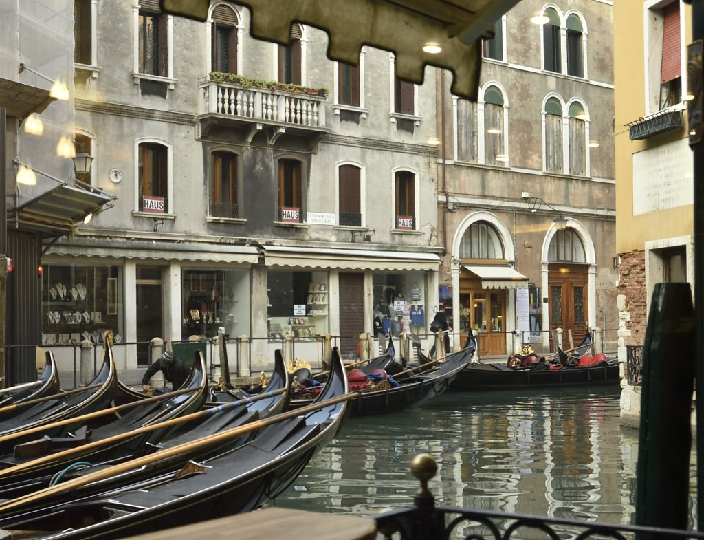 Gondola 'taxis' outside my hote in Venice..