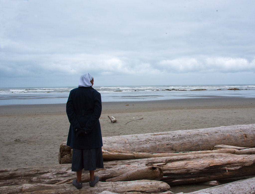 Nun Contemplates God's Pacific