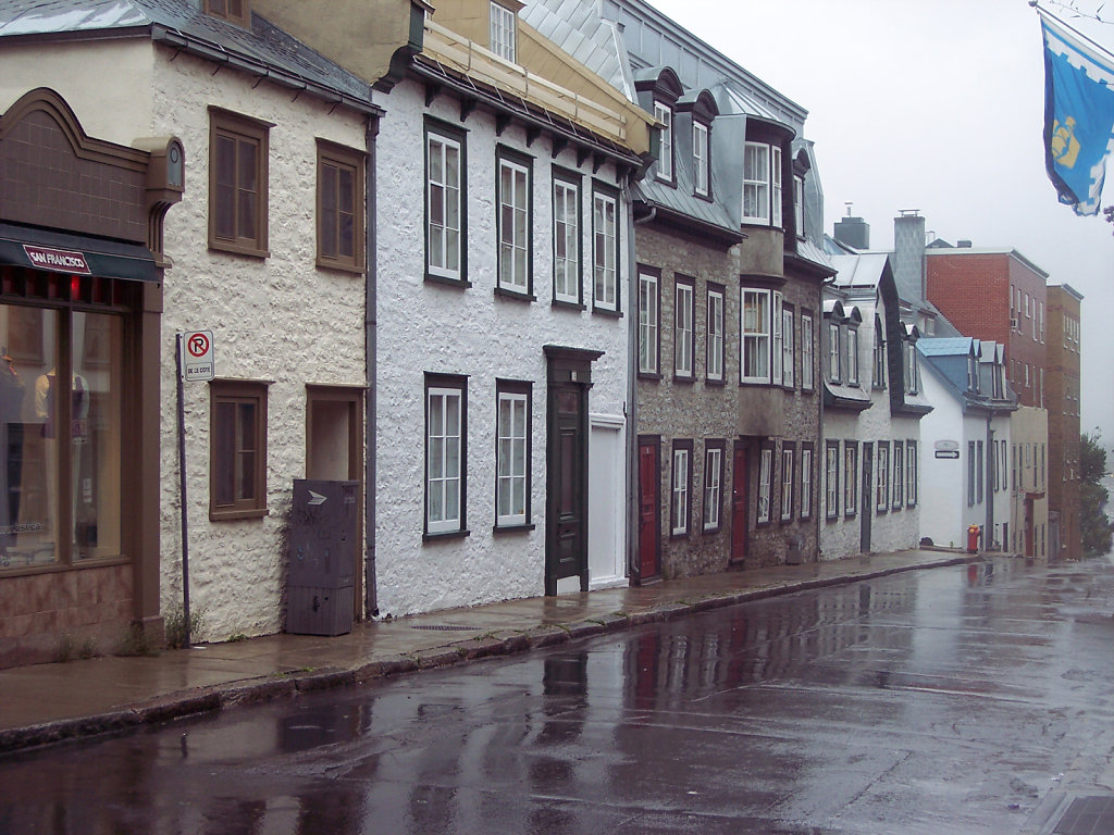 Quebec City Street in the Rain