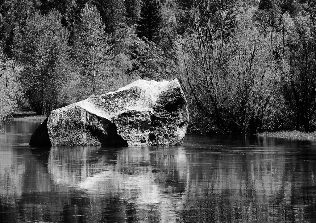 Rock in Mirror Lake on Tenaya Creek