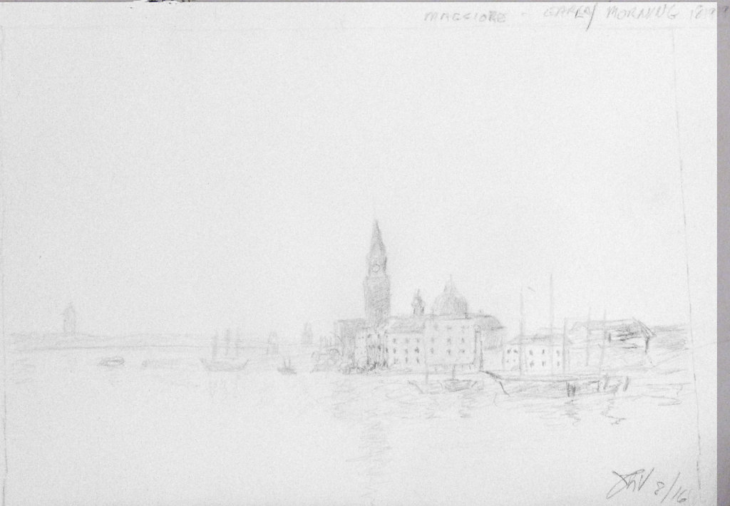 Hand drawn copy of Maggiore Early Morning, Venice