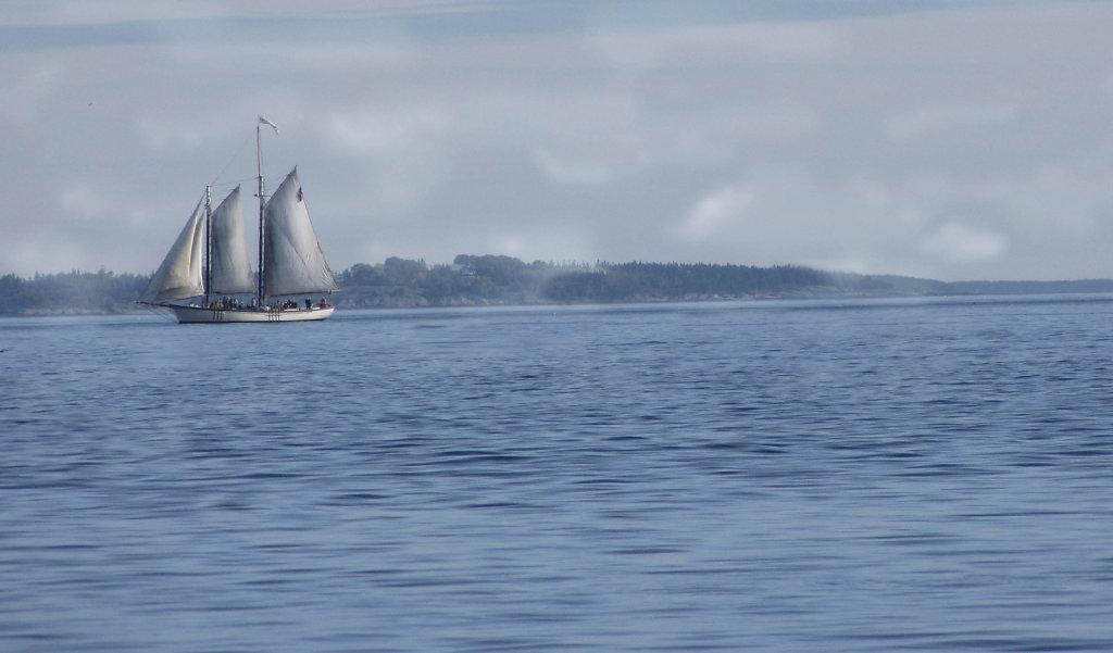 Schooner in early mists of day