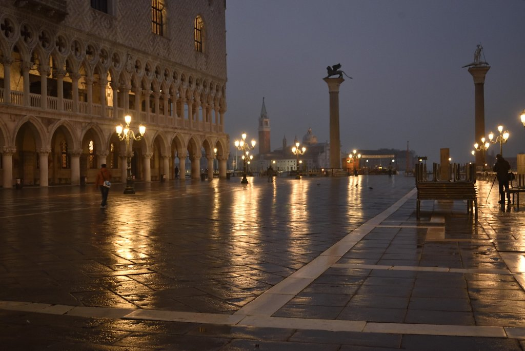 St Mark's, Venice, at dawn in the rain