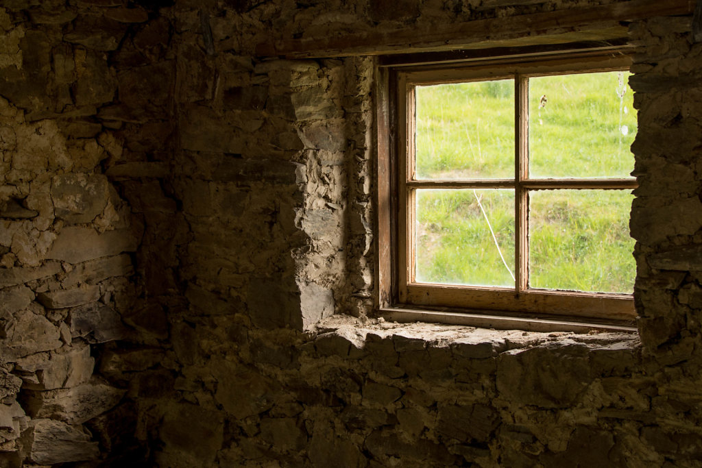 Window in ghost town building