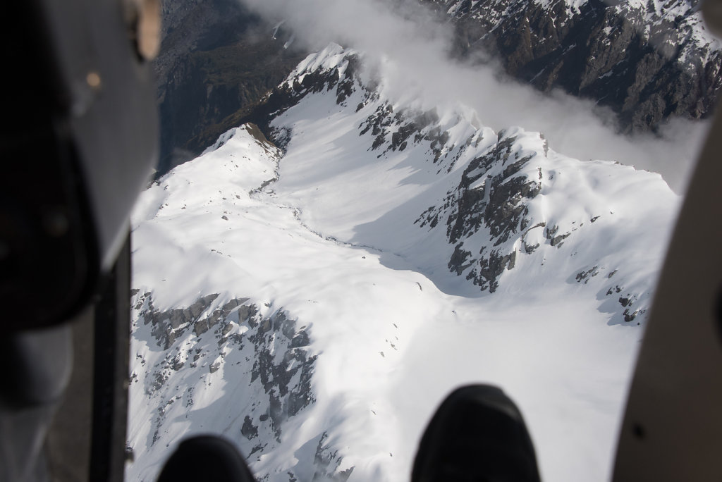 Looking down at a glacier