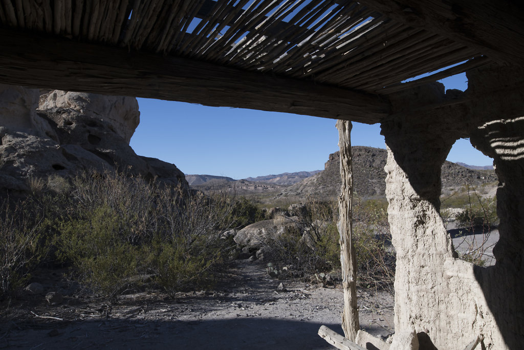 View from inside  an abandoned desert house