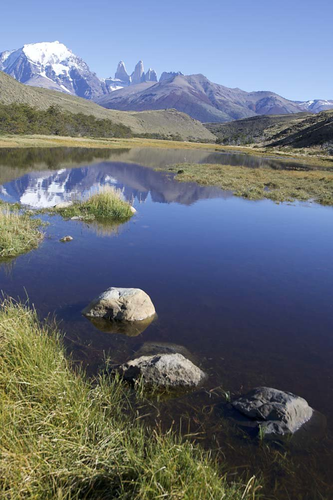 Torres del Paine in a mirror pond